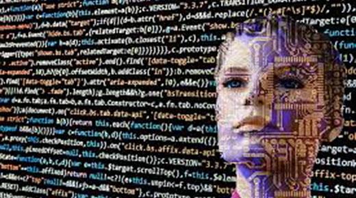 cyborg face with data stream